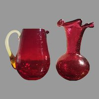 Vintage Pilgrim Cranberry Crackle Glass Ruffled Vase & Pitcher Amber Handle Rough Pontil