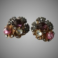 Haskell Pink Purple Brilliant Horseshoe Sign Clip Earrings
