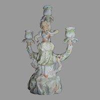 Dresden German Porcelain Figural 3 Arm Candelabra Maiden