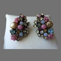 Unsigned Haskell Muli Colored Cluster Baroque Pearl Rhinestone Moonstone Clip Earrings