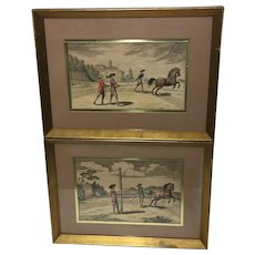 Pair German Hand-Colored Engraving Signed Prints Peter Paul Troschel (1620-1667) Prints Horse And Trainers
