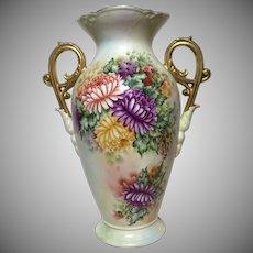Luminous Antique Limoges Tall Signed Petal Scroll Handled Vase c. 1915