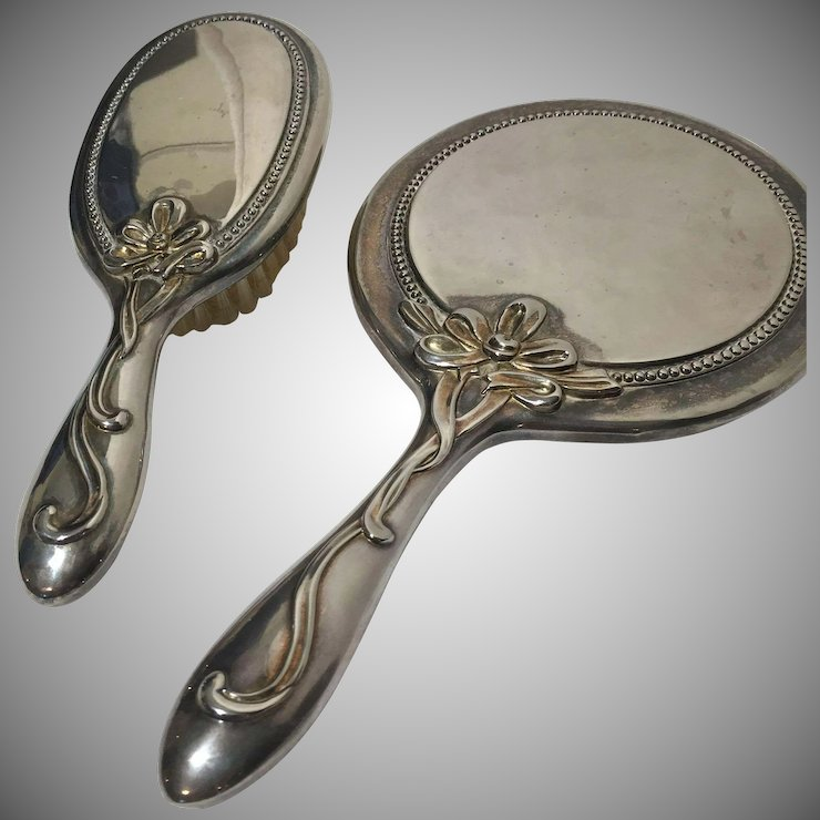 Vintage Silver Plate Gold Tone Vanity Dresser Set Bow Ribbon Accent Mirror Brush