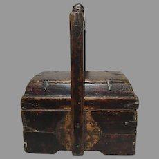 Antique Chinese Handmade Wooden Lidded Box 19th Century