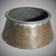 Antique Primitive Hand Forged Copper Turkish Cauldron Cistern Pot