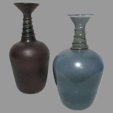 Pair Vintage Neker Art Glass Israel Jerusalem Hand Blown Vases Swirl Neck Original Label