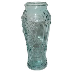 Rare Tall Green Art Glass Vase Molded Hand Blown Floral Venetian Design