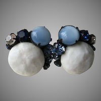 Miriam Haskell Button Milk Glass Moonstone Rhinestone Blues Black Filigree Earrings