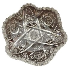 American Brilliant Period Cut Glass Libbey Candy Dish