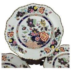 C. 1900 Rare Set of 6 Masons Patent Ironstone Mandarin Painted Plates Gilt Accent - Red Tag Sale Item