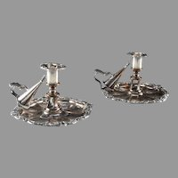 Pair Antique C1890 James Dixon & Sons Old Sheffield Silver Plate Chambersticks