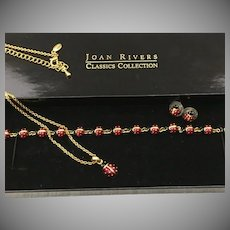 Set Of Vintage Joan Rivers Lucky Ladybug Classics Collection Earrings, Bracelet, Pendant Never Worn