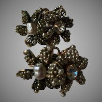 Miriam Haskell Seeded Pearl Two Flower Earrings