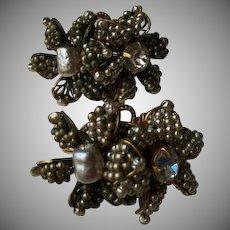 Miriam Haskell Seeded Pearl Two Flower Earrings