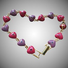 Joan Rivers Classic Heart & 1 Lucky Ladybug Enameled Gold Tone Bracelet Never Worn