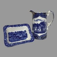 Rare Flow Blue Transferware Balmoral Castle Relief Gilt Pitcher & Small Square Dish