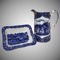 Rare Flow Blue Transferware Balmoral Castle Relief Gilt Pitcher & Small Square Dish