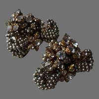 Haskell Bow Pearl Bridal Seeded Earrings with Floral Rhinestone Center and Accent Cluster