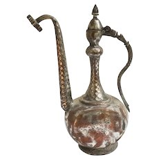 Antique Primitive Middle Eastern Persian Hand-Hammered Coppered Ewer 1800's