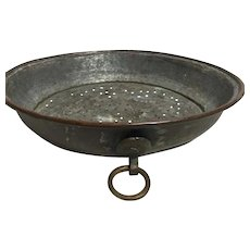 Primitive Copper Sieve Hand Made Rolled Rim and Hanging Hardware