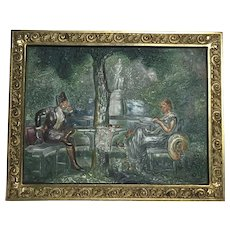 Stunning Antique Bradley Hubbard Cast Iron Art Plaque Courting Garden Scene Signed 1900's