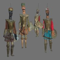 Antique Authentic Tunisian Marionette Puppets Set Of 4 Armored Soldiers