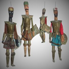 Antique Authentic Sicilian Saracen (Moor) Marionette Puppets Set Of 4 Armored Soldiers