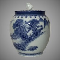 Rare Signed Hirado Porcelain Water Jar w/ Shishi Lid Masters of Rock Landscape Painted