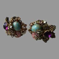 Haskell Horseshoe Signed Robin's Egg Floral Purple and Pink Accented Seeded Earrings