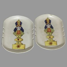 Vintage Pair Alvino Bagni Raymor Pottery Signed Mid Century Modern Ashtray Queen Of Hearts