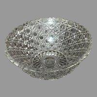 "Stunning 9"" ABP Brilliant Cut Glass Bowl Harvard Pattern c. 1900"