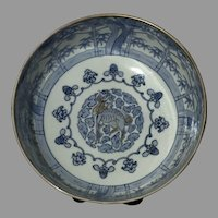 19th C. Hirado Arita Porcelain Painted Blue White Bowl