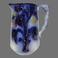Vibrant Staffordshire Flow Blue Gaudy Welsh Copper Lustre Relief Pitcher 19th Century