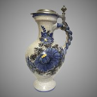 German Vintage Painted Crackle Tankard Pitcher w/ Pewter Rein Zinn Lid Braided Handle Pottery