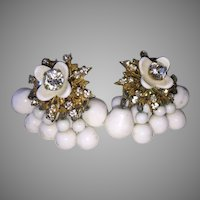 Rare Signed Haskell Rhinestone Milk Glass and Rhinestone Dangle Earrings