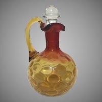 Antique Mt. Washington Amberina Inverted Thumbprint Glass Cruet 19th C