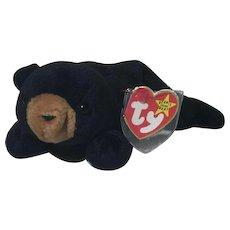 Rarest  Blackie Bear Beanie Baby PVC Pellets Multiple Errors* Style 4011 Mint