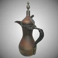 Antique Islamic Brass Copper Dallah Coffee Pot Arabic Signed