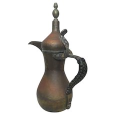 Antique Islamic Brass Copper Dallah Coffee Pot Arabic Signed