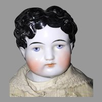 "Striking ABG German China Head Male Doll 25"" Porcelain Unglazed Limbs Handmade Cloth Body"