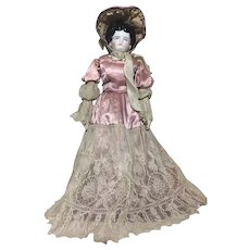 "Rare 21"" Circa 1860's German China Head Doll Cloth Body - Red Tag Sale Item"