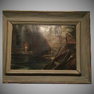 Signed John Clifford Pellew Signed Oil On Board Painting 1950 American Artist