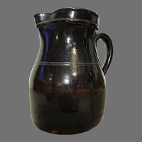 "Antique 19th C. Albany Slip Glazed Stoneware Batter Pitcher 8""H"