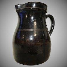 "Antique 19th C. Albany Slip Glazed Stoneware Batter Pitcher 8""H"