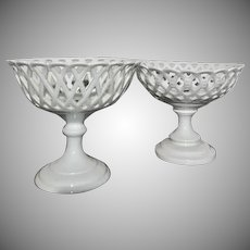 Unique Pair Old  Paris White Porcelain Reticulated Bolted Compotes  Different Styles