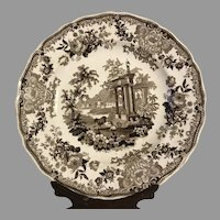 Stunning Aesthetic Brown Transferware Morea China Plate C. 1840's