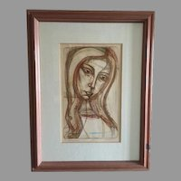 """Rare Irving Amen Hand Colored Signed Etching """"Contemplation"""" LE 28/200"""