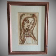 "Rare Irving Amen Hand Colored Signed Etching ""Contemplation"" LE 28/200"