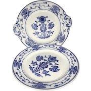 Antique Villeroy & Boch Dresden Saxony White Blue Poppy Platter and Plate M508