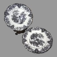 "Set of 4 Bochara James Edwards Mulberry Transferware 9"" Plates"